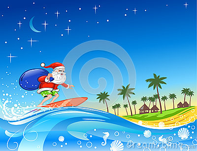 Surfing Santa With Gifts Stock Photography Image 25721722