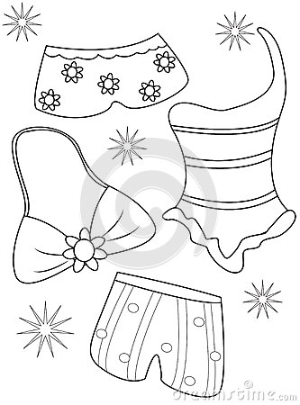 Swimsuits Coloring Page Stock Illustration Image 51088706