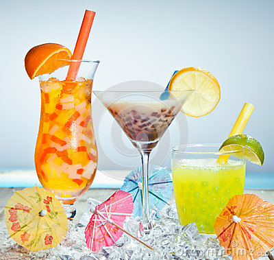 Three different boba tea cocktails