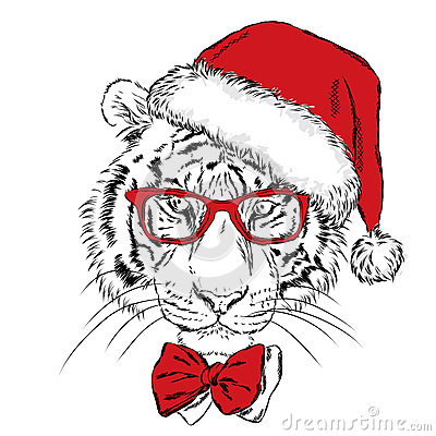 Tiger In Christmas Hat And Sunglasses Cartoon Vector