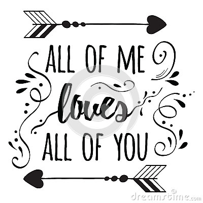 Typography Romantic Poster About Love Quote Stock Vector