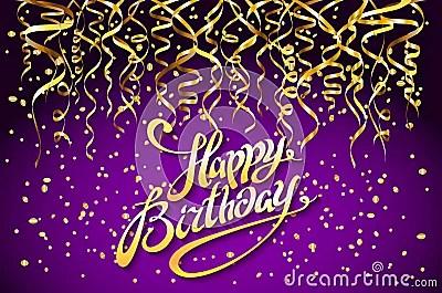 Vector Purple Party Background Happy Birthday Celebration Design Vector Gold Confetti Elements