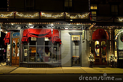 Victorian Storefront At Christmas Royalty Free Stock