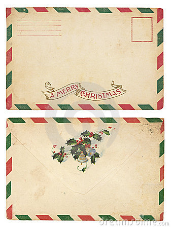 Vintage Christmas Envelope Royalty Free Stock Photography