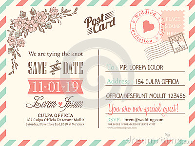 Vintage Postcard Background For Wedding Invitation Stock