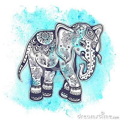 Vintage Watercolor Elephant Illustration Stock Vector