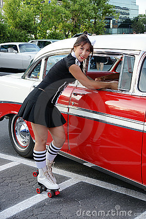 Waitress At Drive-in Restaurant Royalty Free Stock Images ...