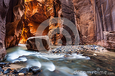 Wall Street In The Narrows, Zion National Park, Utah Stock ...