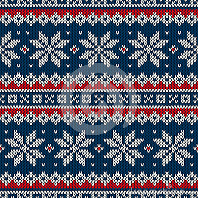 Winter Holiday Seamless Knitted Pattern Stock Vector