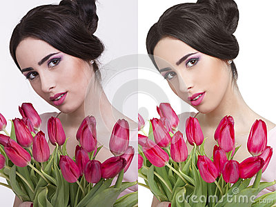 woman before and after retouch stock photo image