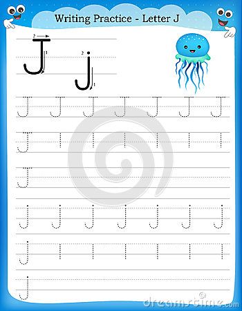 Writing Practice Letter J Stock Vector