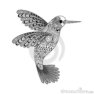 Zentangle Stylized Black Hummingbird Hand Drawn Stock