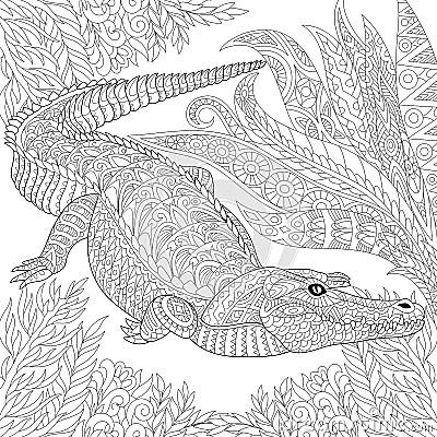 Zentangle Stylized Crocodile Alligator Stock Vector