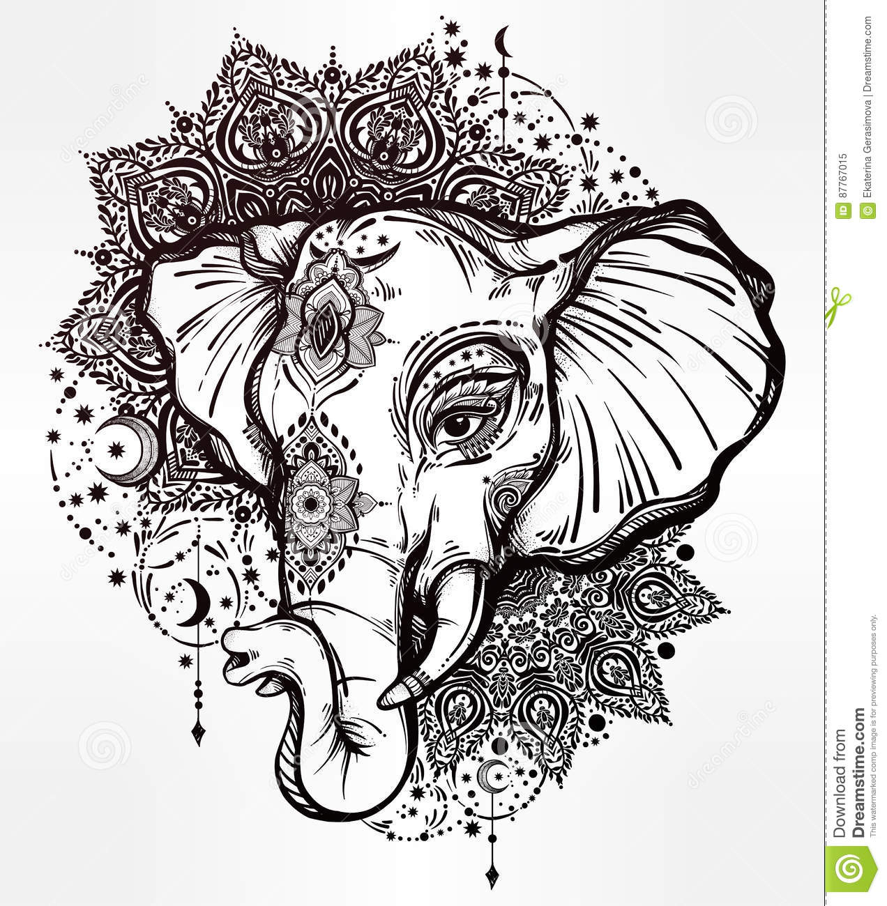 Elephant Decoratif Avec L Ornement Tribal De Mandala
