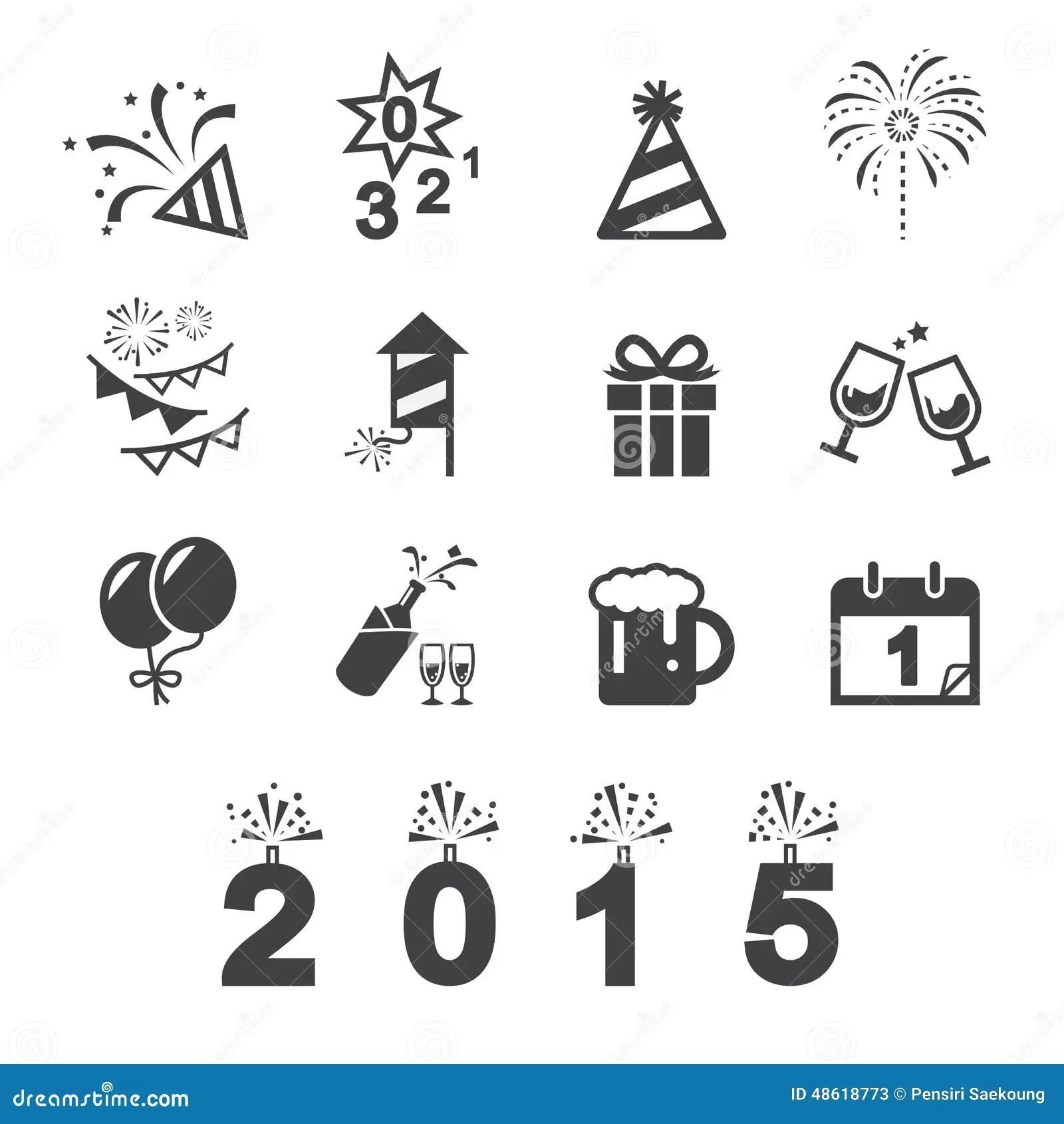 Icone Do Ano Novo Feliz Ilustracao Do Vetor Ilustracao De