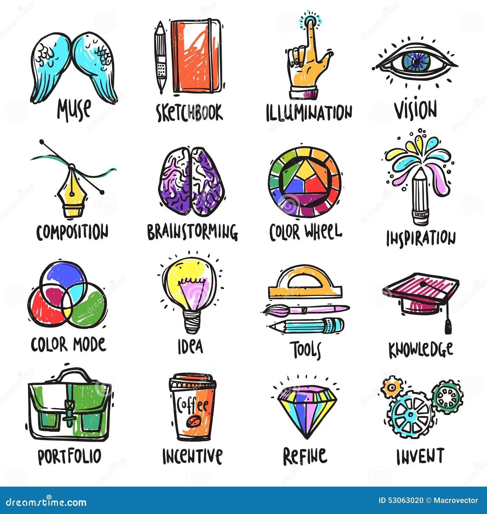 Icones Criativos Do Processo Ajustados Ilustracao Do Vetor