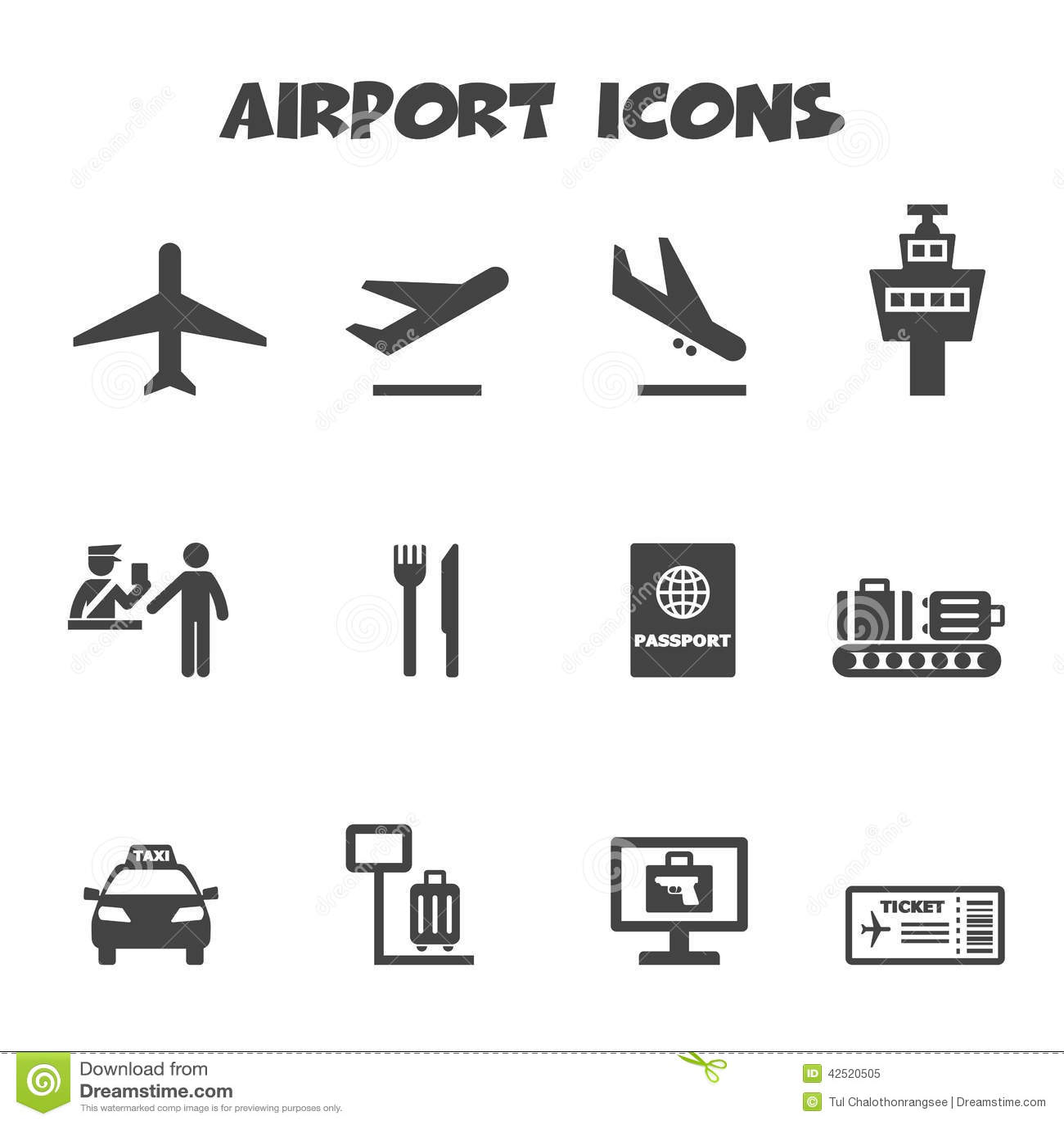 Icones Do Aeroporto Ilustracao Do Vetor Ilustracao De