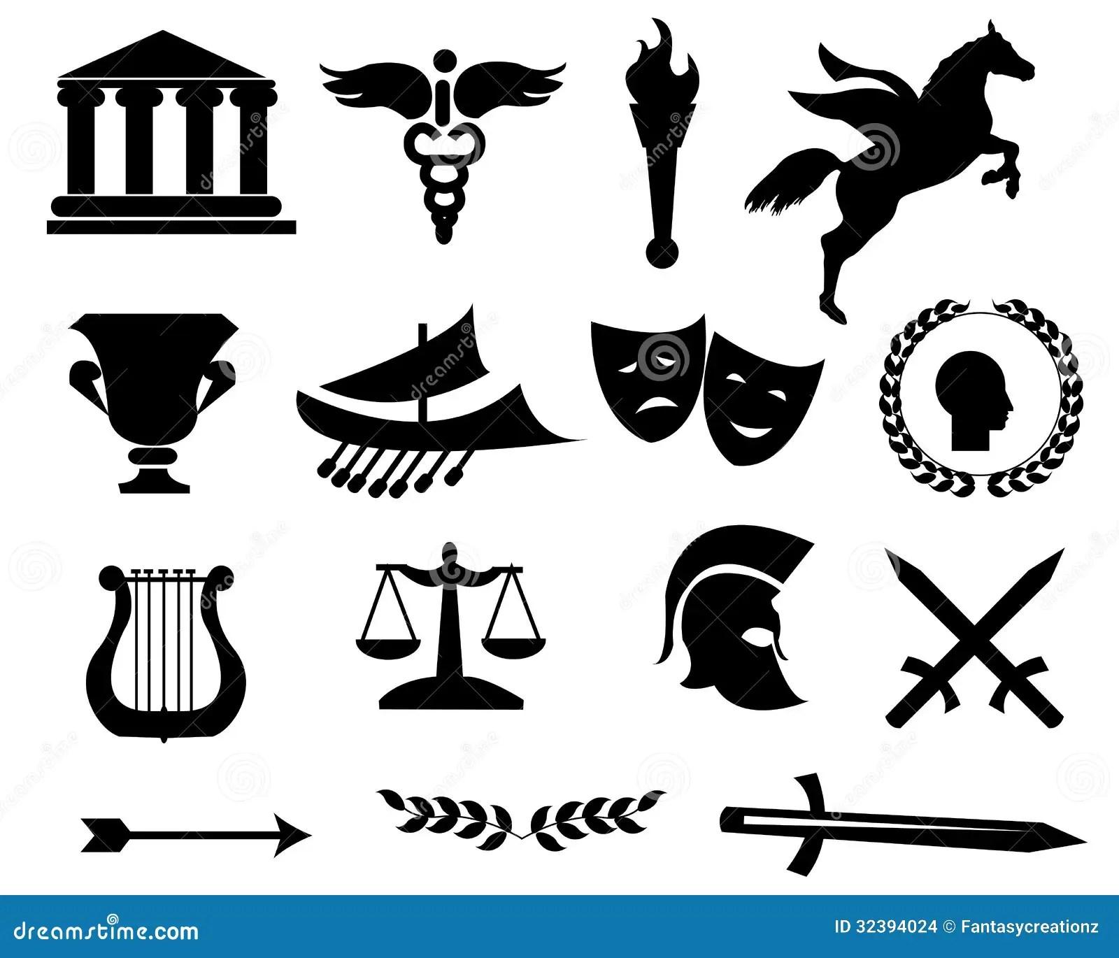 Icones Do Preto De Grecia Ilustracao Do Vetor Ilustracao
