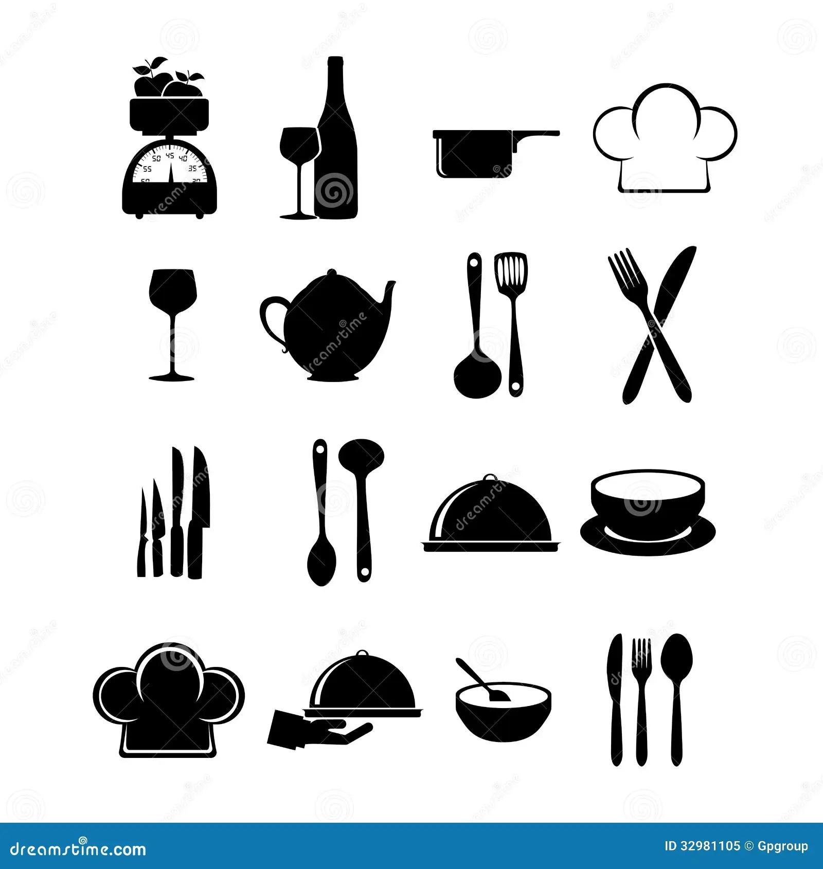 Icones Do Restaurante Ilustracao Do Vetor Ilustracao De Grupo