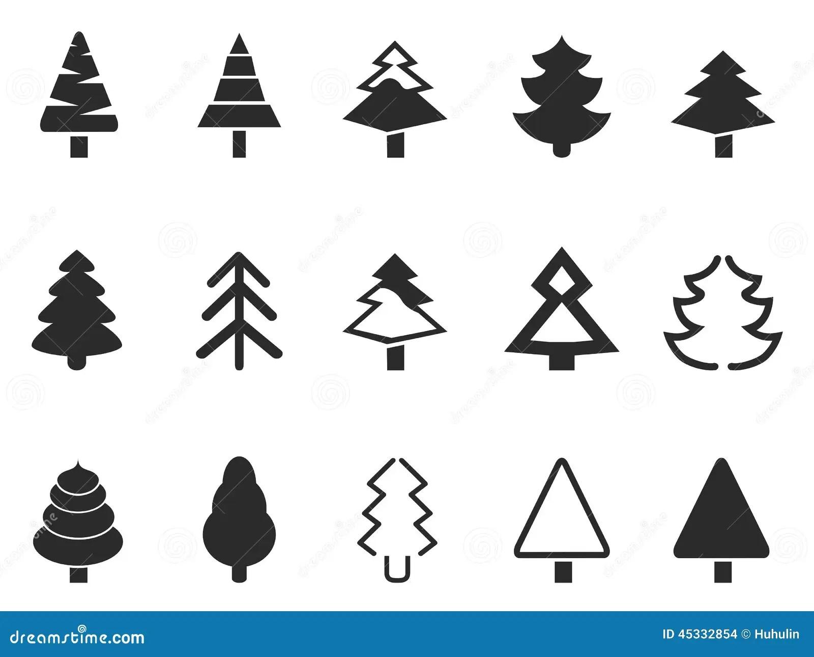 Icones Simples Do Pinheiro Ajustados Ilustracao Do Vetor
