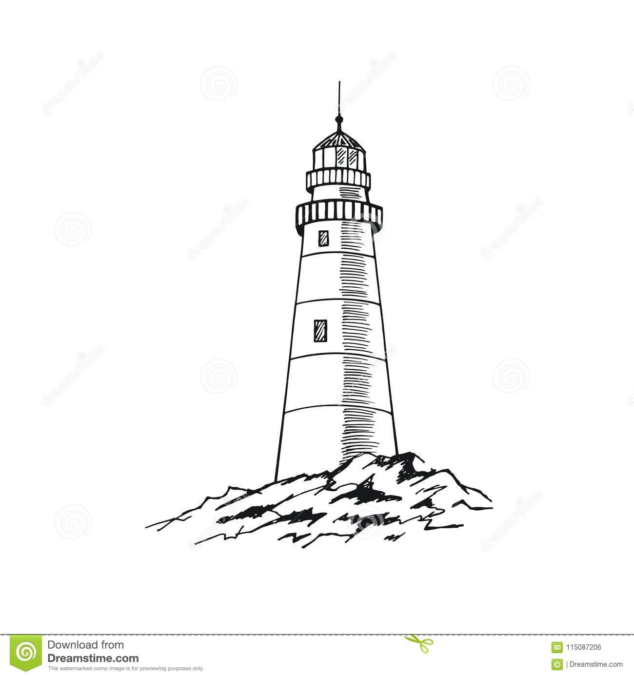 The Lighthouse Sketch Hand Drawn Vector