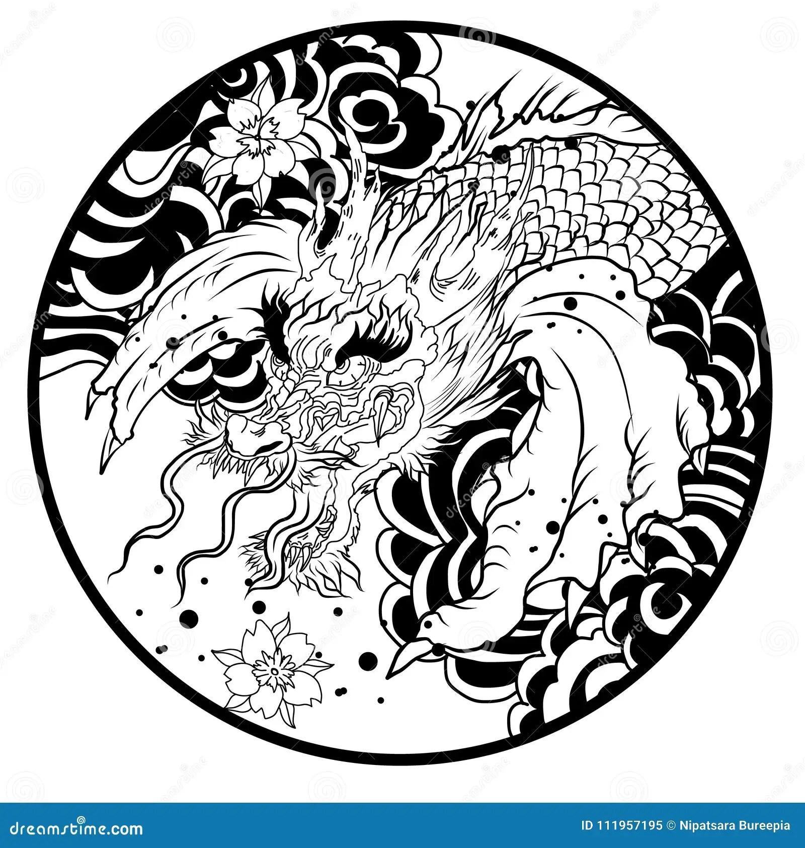 Ubergeben Sie Gezogene Koi Fische Im Kreis Japanisches