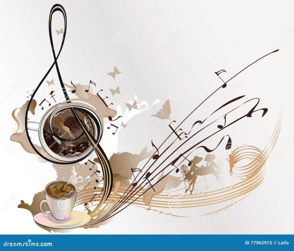 Абстрактная музыка кофе с чашками кофе Иллюстрация вектора ...