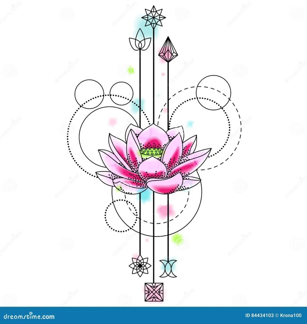 абстрактная татуировка лотоса акварели иллюстрация вектора