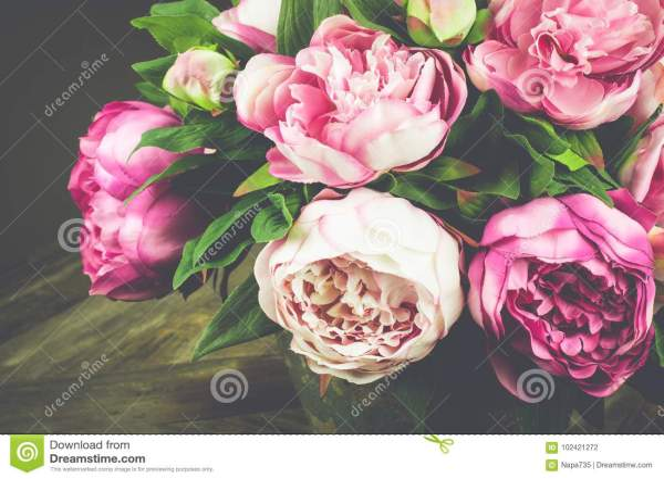 Букет пионов в вазе сбор винограда типа лилии иллюстрации ...