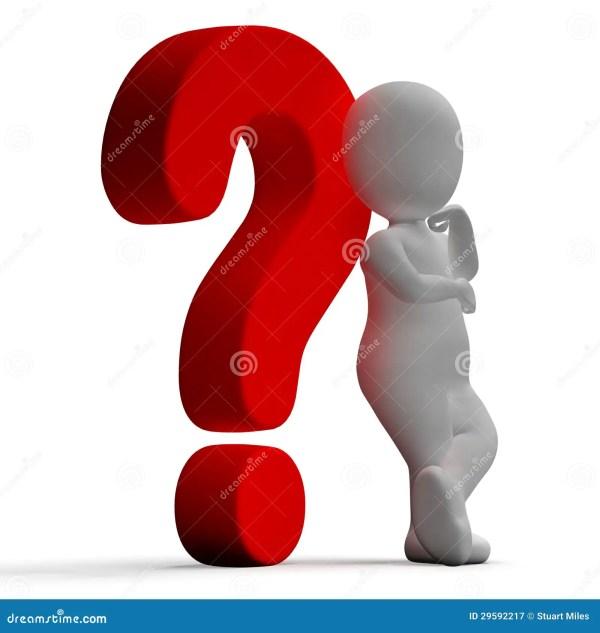 Вопросительные знаки и человек показывая запутанность или ...