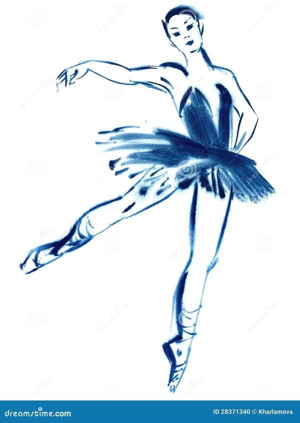 Голубая балерина рисуя гуашь Стоковое Фото изображение