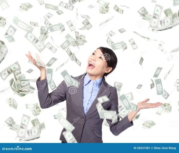 Дождь денег женщины дела счастливый нижний Стоковое ...