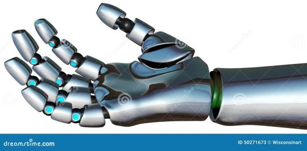 Изолированная рука андроида киборга робота Иллюстрация ...
