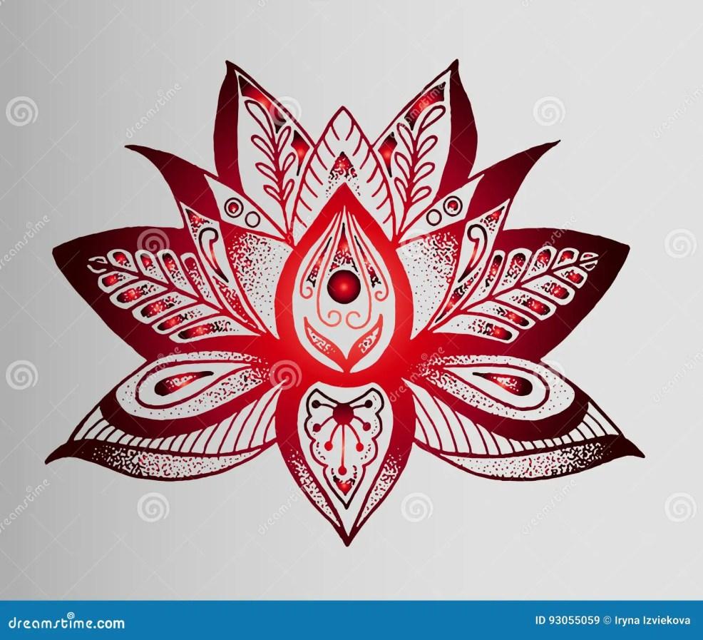 красивый индийский эскиз татуировки красного цветка лотоса