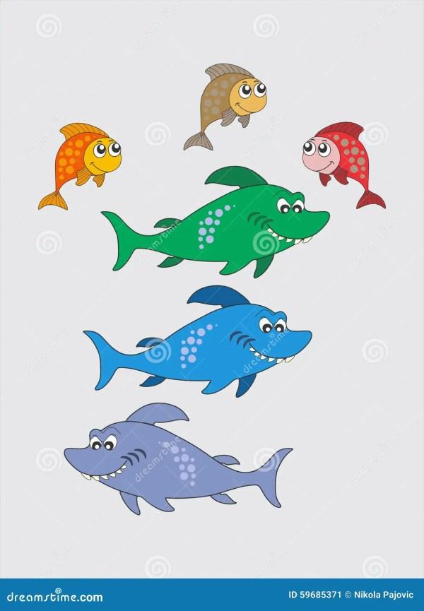 покрасьте рыб смешной иллюстрация вектора. иллюстрации ...