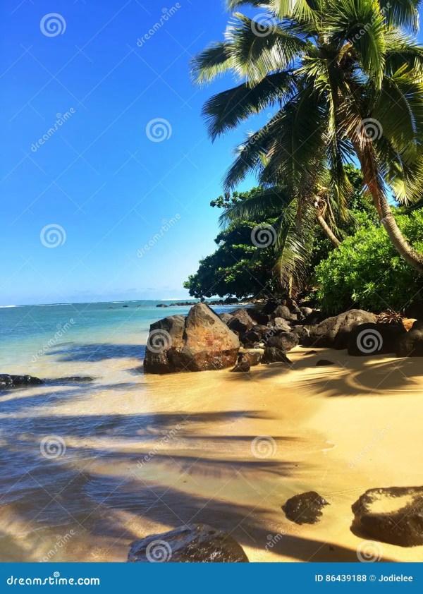 Пляж Anini на острове Кауаи Гаваи Стоковое Фото ...