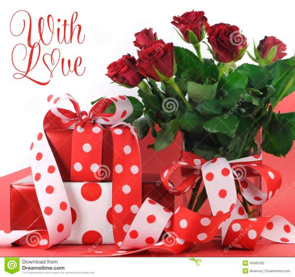 Точка польки украсила подарки на красной и белой ...