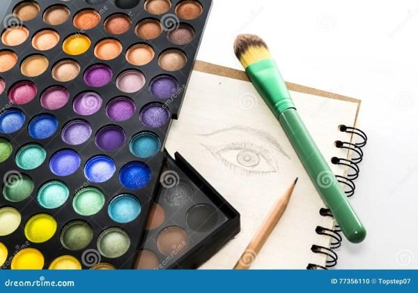 Цветовая палитра тени глаза с щеткой и чертеж наблюдают на ...
