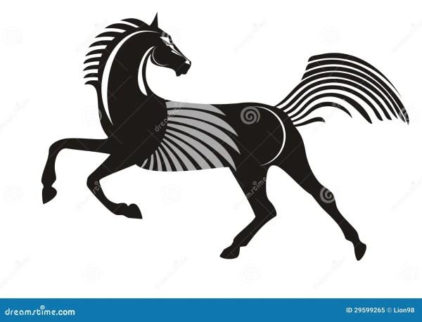 Черная идущая лошадь