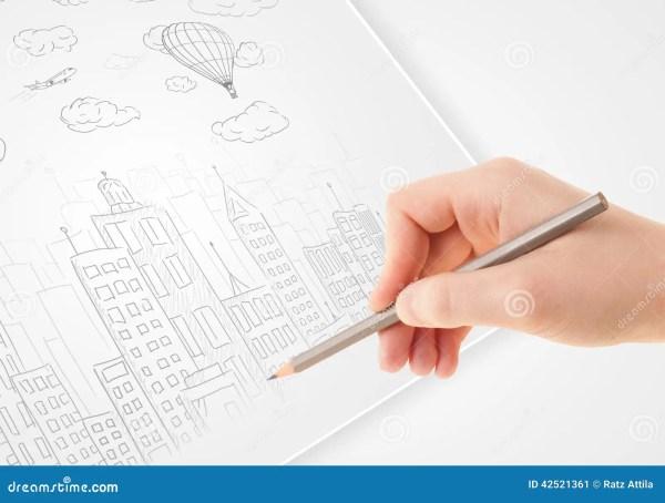 Эскиз чертежа персоны города с воздушными шарами и ...