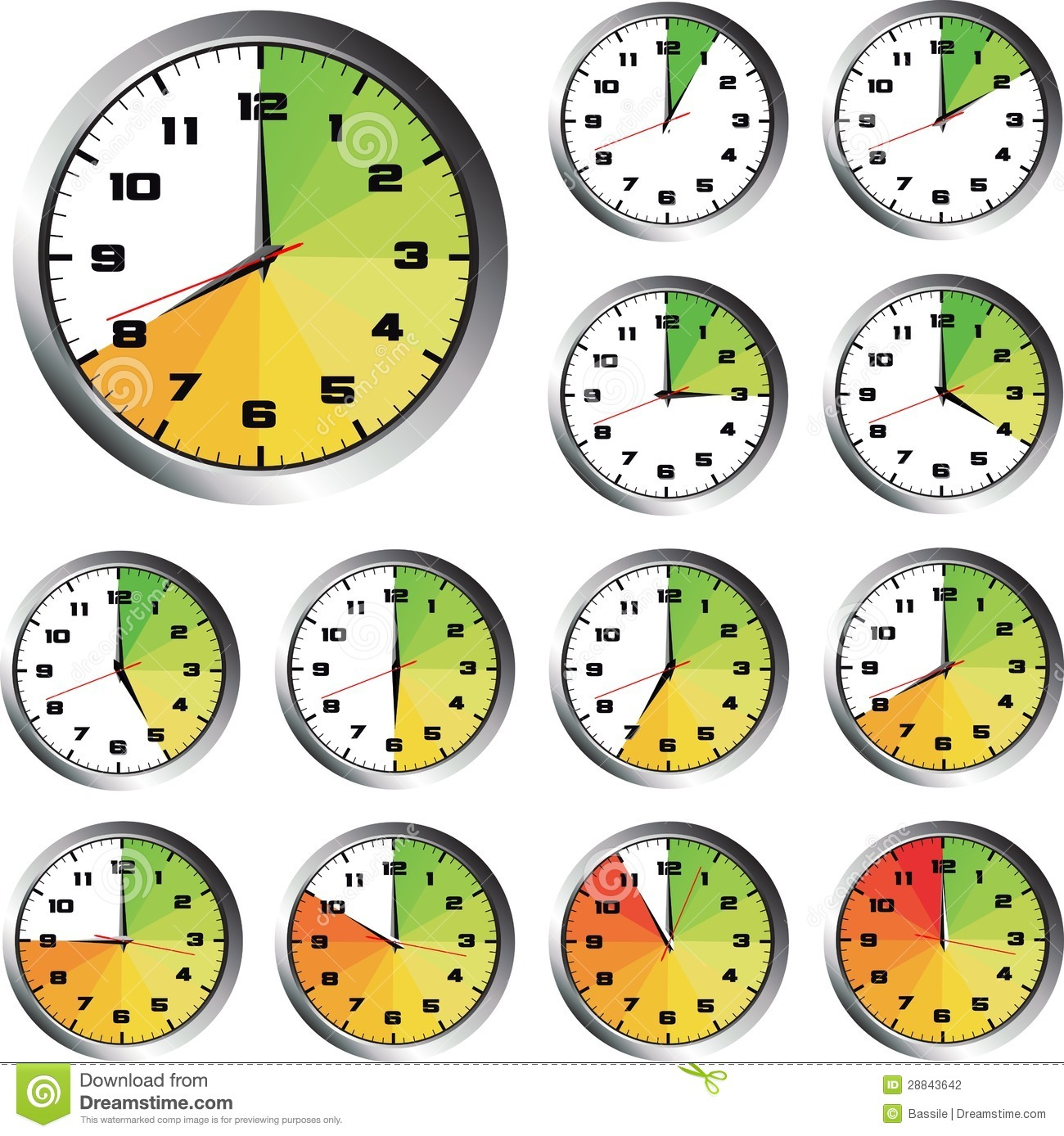 12 Hours Clock Set Stock Vector Illustration Of