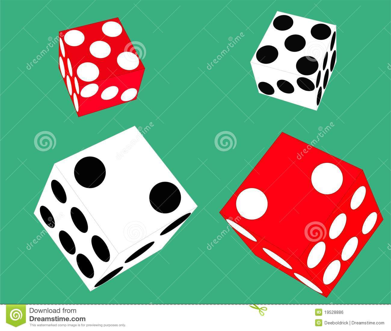2 Pairs Of Floating Dice Stock Vector Illustration Of