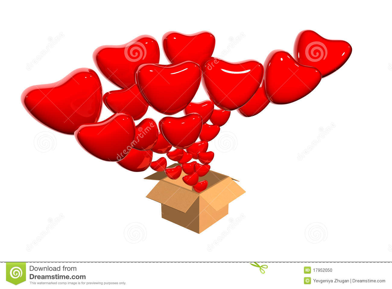 3D Hearts Flying Out From Box Stock Illustration