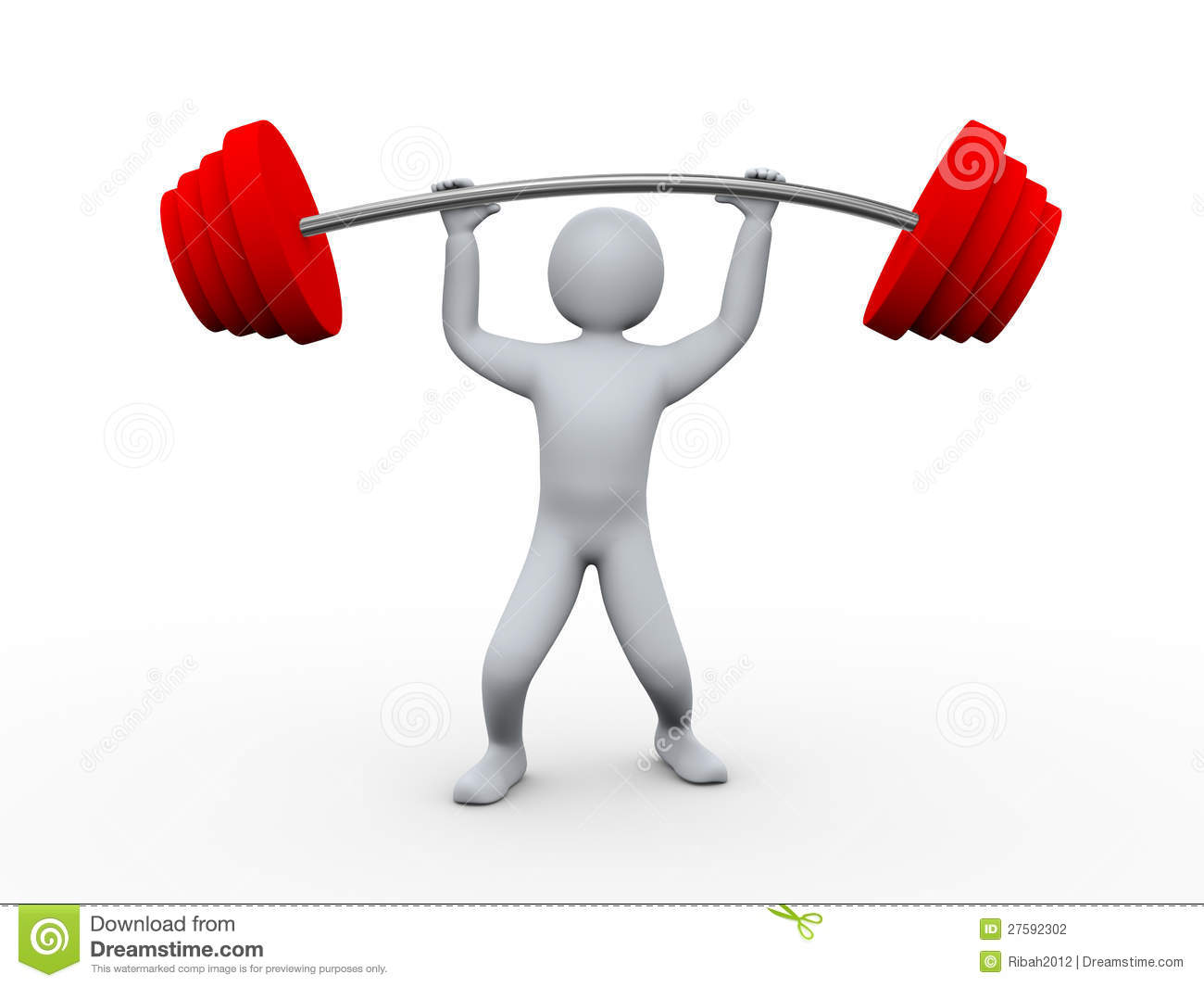 3d Person Lifting Heavy Weight Stock Illustration Illustration