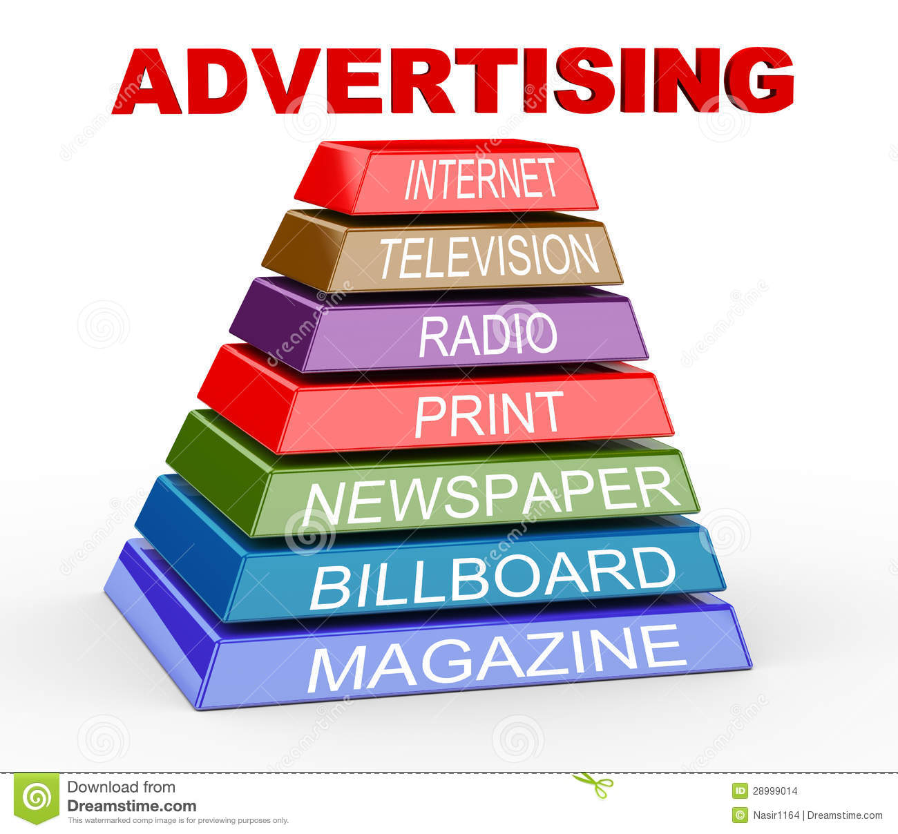 3d Pyramid Of Advertising Media Stock Illustration