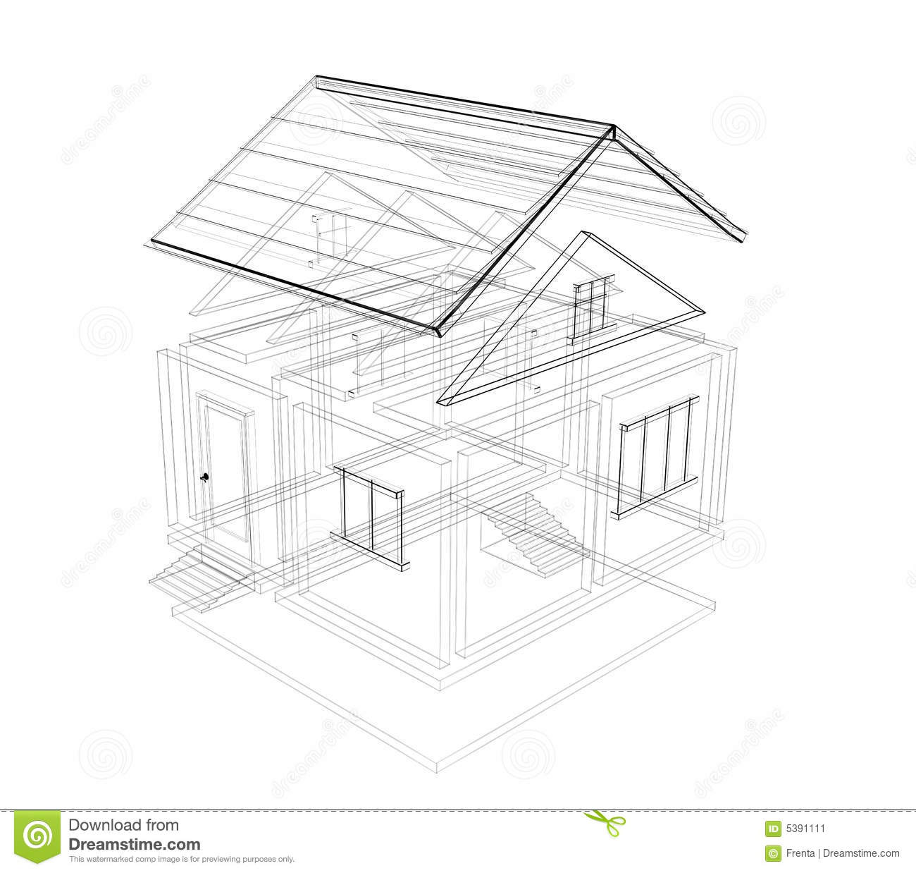 3d Sketch Of A House Stock Illustration Image Of Design