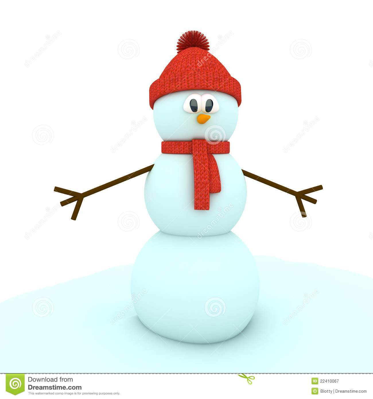 3d Snowman Over White Background Royalty Free Stock