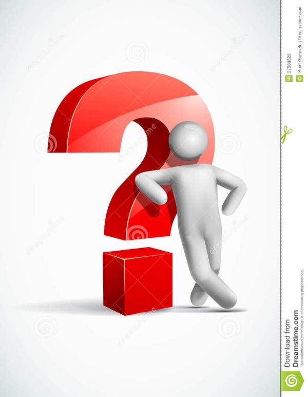 3d Vector Man Leaning Question Mark Symbol. Royalty Free ...
