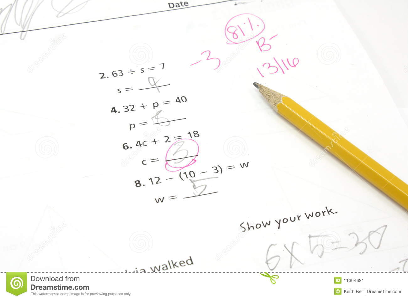 5th Grade Math Test Stock Image Image Of Learning