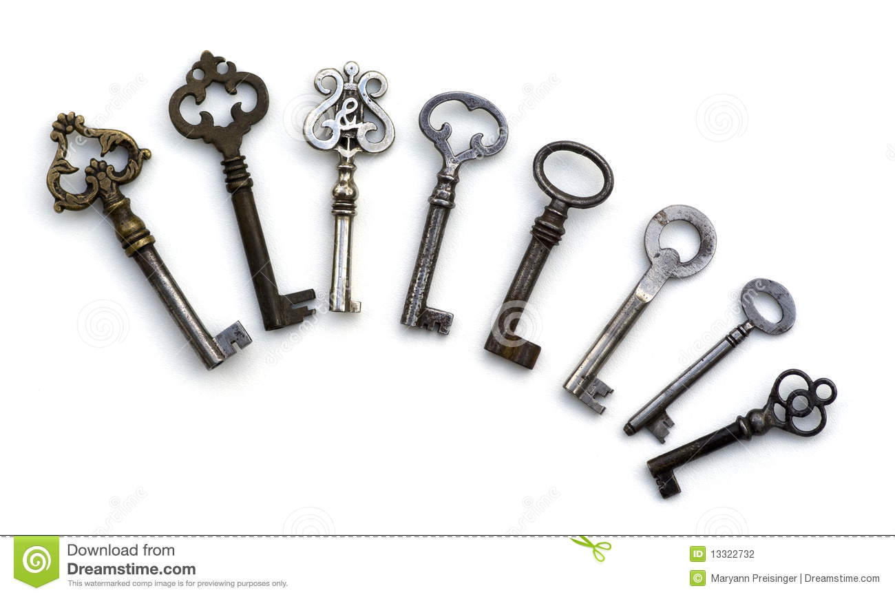 8 Skeleton Antique Keys Isolated Stock Photo
